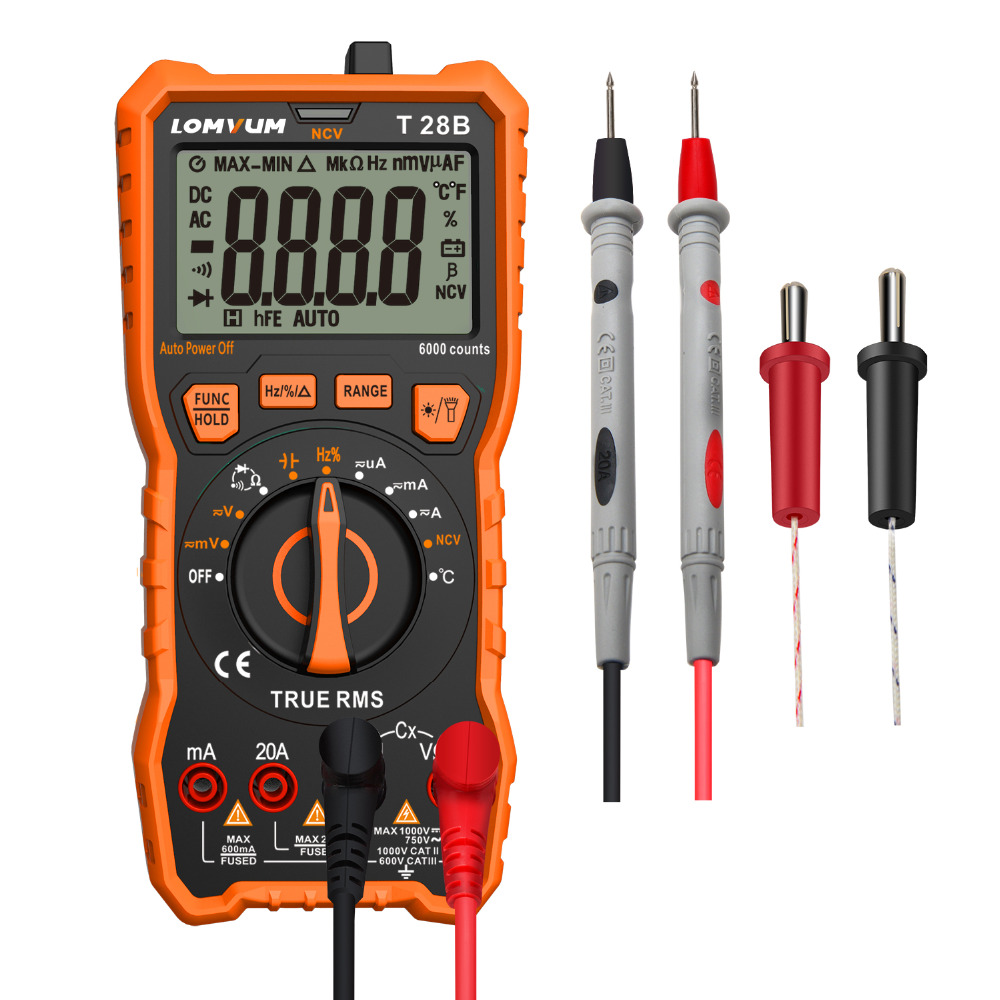 LOMVUM Portable Numérique Mini Multimètre Gamme Automatique Testeur Multimètre Rétro-Éclairage AC/DC Ampèremètre Voltmètre multimètre De Poche led