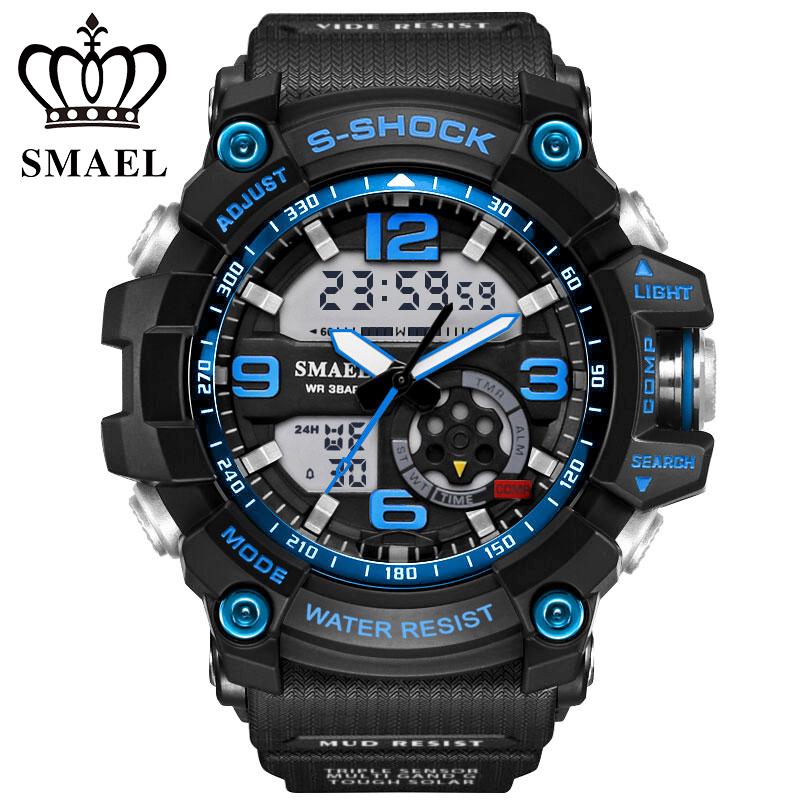 Prix pour S Choc Militaire Montres Armée Hommes de Montre-Bracelet LED Quartz Montre Digtial Dual Time Hommes Horloge Sport Montre reloj hombre WS1617