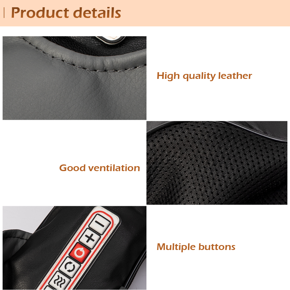 Electrical Shiatsu Back Neck Shoulder Body Infrared Heated Kneading Massager For Car/Home 7