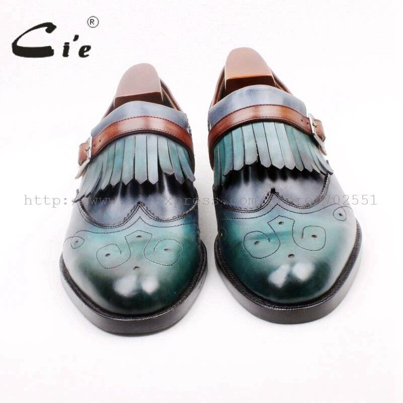 Cie bout rond complet Brogues découpes glands boucles mocassins 100% véritable cuir de veau respirant semelle chaussures plates homme Loafer169 2