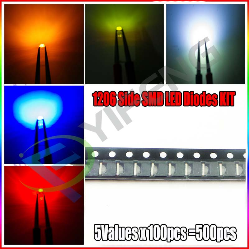 5 Values Each 100pcs =500pcs SMD 1206 led Super Bright Red/Green/Blue/Yellow/White LED Light Diode