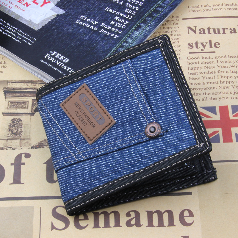 цена на 2017 Vintage Denim Blue Jeans Canvas Wallets Women / Men Quality Man Best Gift for Boyfriend Husband Short Zipper Bag Purses