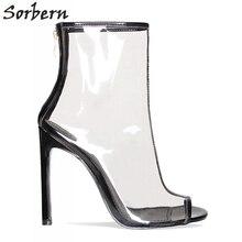 Sorbern kurze Stiefel Frauen Transparent Klar Pvc China Damen Schuhe Günstige Weiße Heels Kunststoff Stiefeletten Stilettos High Heels