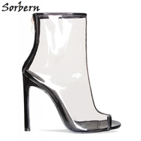 Sorbern Short Boots Women Transparent Clear Pvc China Womens Footwear Cheap White Heels Plastic Ankle Boots Stilettos High Heels