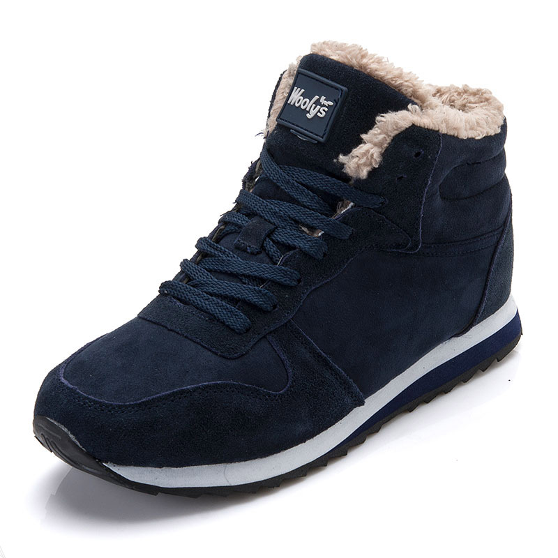 Winter Men Casual Shoes Warm Fur Winter Shoes Snow Shoes Flock Men Sneakers Black Plus Size Black