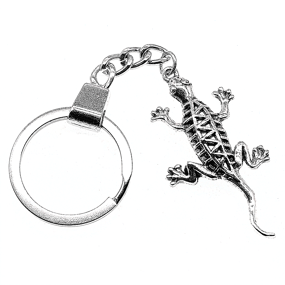 Women Jewelry Gift Key Chain New Vintage Metal Key Chains Antique Silver 50x26mm Gecko Lizard Charm Key Rings in Key Chains from Jewelry Accessories