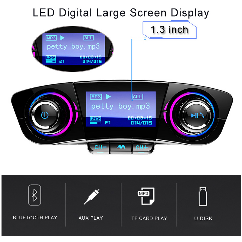 jinserta fm transmitter aux modulator bluetooth handsfree. Black Bedroom Furniture Sets. Home Design Ideas