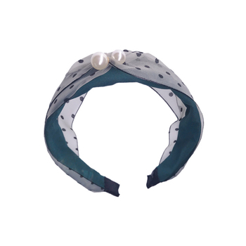 Patchwork Color Cloth Cross Hairband Headband with Pearl for Women Lady Wide Plastic Hair Hoop Bezel Hair Accessories