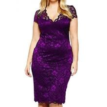 S-5XL Robe Summer Dress Big Size Elegant Short Sleeve Midi Lace Women Office Work Dresses Plus Party Vestido