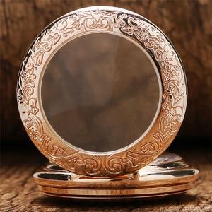 Image 5 - Antique Rose Gold Transparent Glass Roman Numerals Mechanical Hand Wind Pocket Watch Souvenir Pendant Clock Gifts Men Women