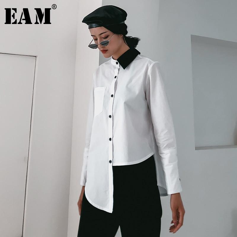 [EAM] 2019 New Autumn Winter Lapel Long Sleeve Hit Color Irregular Hem Loose Brief Shirt Women Blouse Fashion Tide JR195