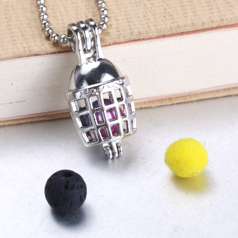 6pcs Silver Plated football helmet Pearl Cage Locket Aroma Essential Oil Diffuser Beads Cage Pendant Jewelry Making Findings