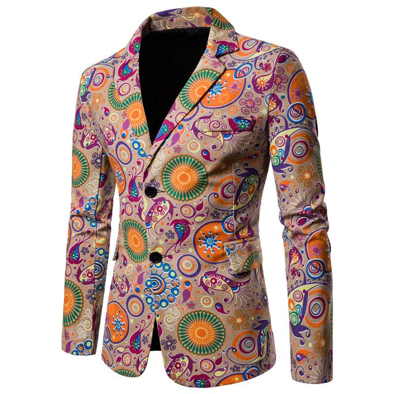 Mens Suits Blazers Cotton Linen Casual Floral Men Blazer Designs National Style Slim Fit Jacket Coat New Terno Masculino