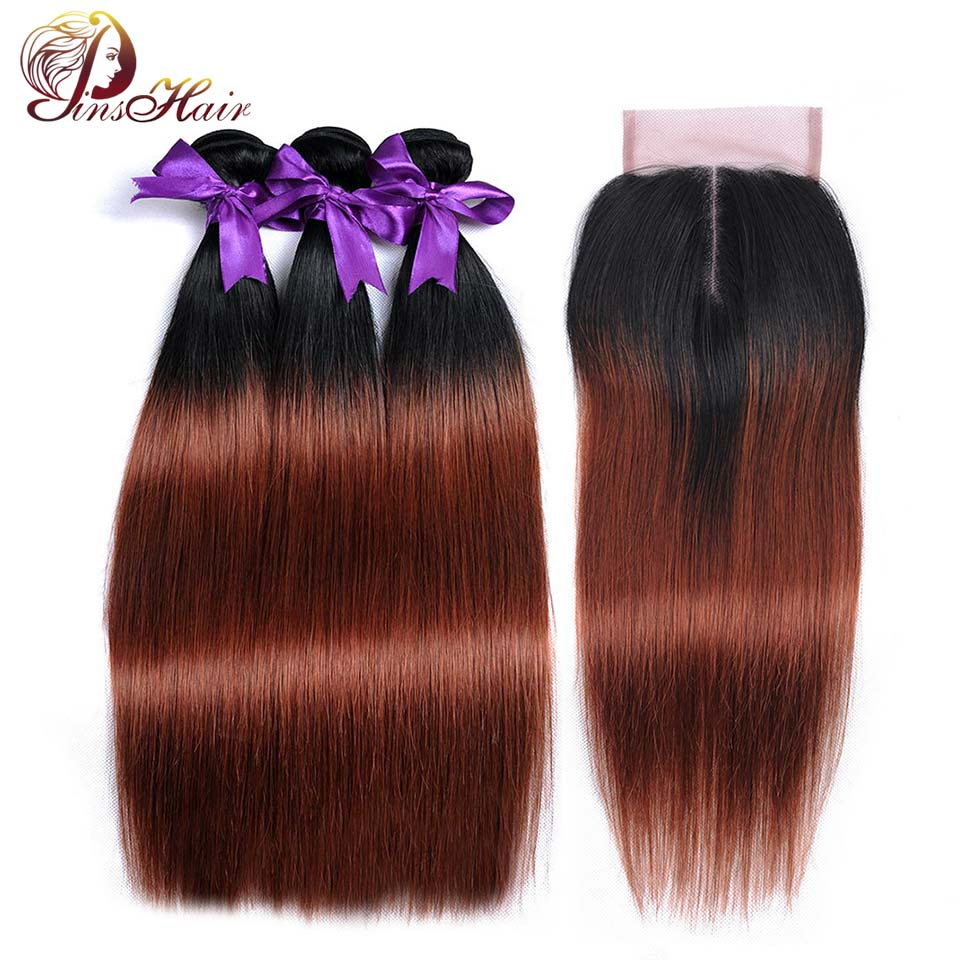 Ombre Bundles With Closure Peruvian Straight Hair 1B 33 Dark Red Human Hair Bundles With Closure Pinshair Nonremy Hair No Tangle