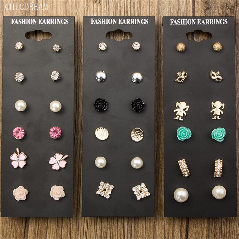 Claire Fashion Accessories Pearl Stud Earring Pack Set 6 Pairs Birdicecream Cute Baby Square Flower Mask Gift For Women Brinco