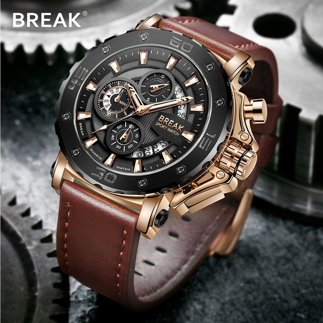 BREAK Chronograph Casual Watch Men Luxury Brand Quartz Military Sport Watch Genuine Leather Men's Wristwatch Relogio Masculino