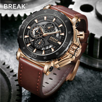 BREAK Chronograph Casual Watch Men Luxury Brand Quartz Military Sport Watch Genuine Leather Men's Wristwatch Relogio Masculino