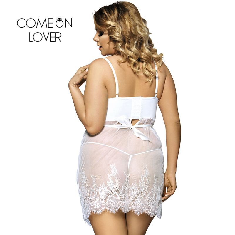 Comeonlover Sheer Mesh Laced Sexy Lingerie Dress Plus Size Sex Costumes For Women Nightwear Babydoll Lingerie Sexy RI70225  1