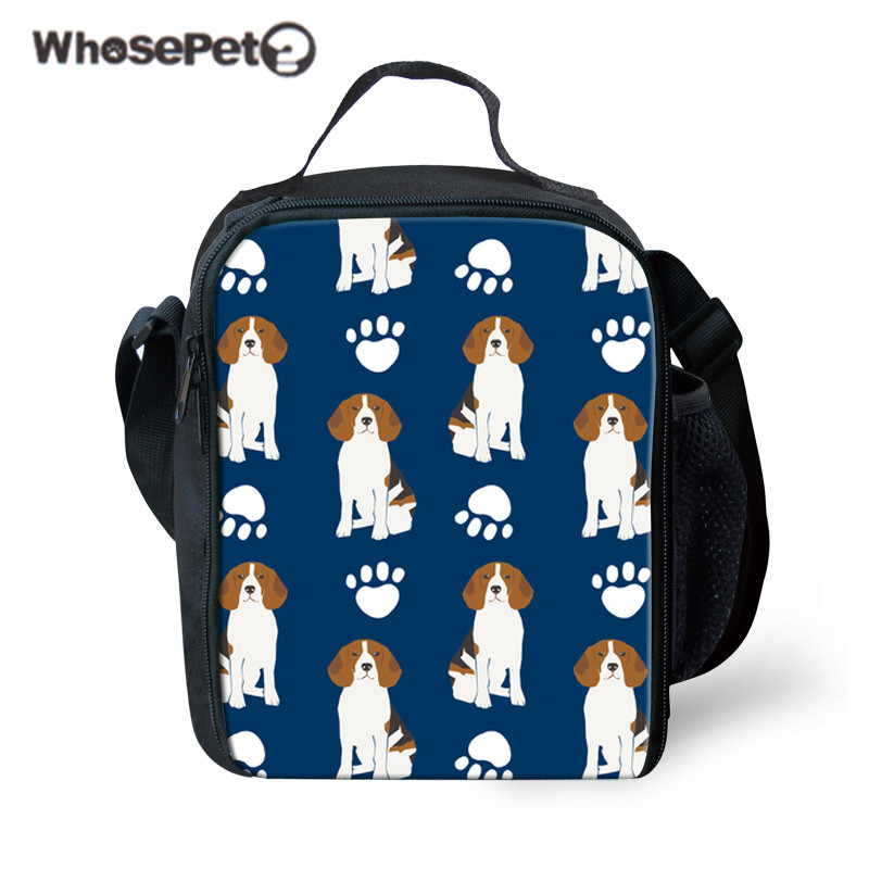 WHOSEPET Beagle Dog Printing Lunch Bag for School Thermal Lunchbox Children Portable Food Storage Kids Cute Shoulder Meal Bags