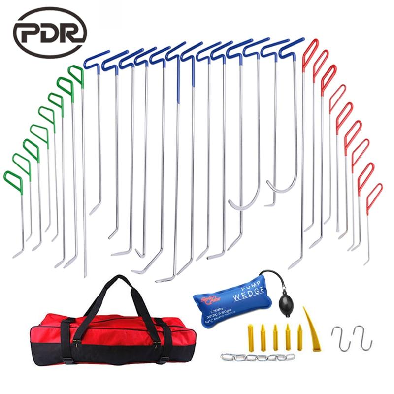 PDR Tools Push Rods Hooks Car Crowbar Dent Removal Paintless Dent Repair Tools PDR Kit Ferramentas Tool Bag Pump Wedge Tool Set цены