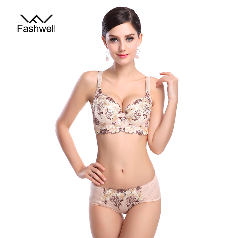 Fashwell Fashion Lady Women's padded   Bra     Set   Deep-V Sexy Design Embroidery Side Support Push Up Underwear   Bra     brief     Sets