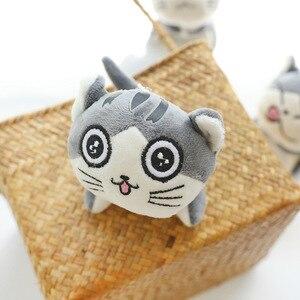 Image 5 - 4 tasarımlar 9 cm Kedi Peluş Doldurulmuş bebek oyuncak Anahtar halkalı anahtarlık Peluş Kedi Bebek Hediye Kızlar için