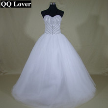 QQ Lover 2017 New Luxury Beaded Ball Gown Wedding Dress Custom-made Bridal Gown Robe De Mariage Vestido De Noiva