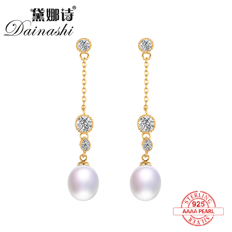 Dainashi Luxury gold color 100% 925 silver pearls drop long earrings top brand fine jewelry for women in officeDainashi Luxury gold color 100% 925 silver pearls drop long earrings top brand fine jewelry for women in office