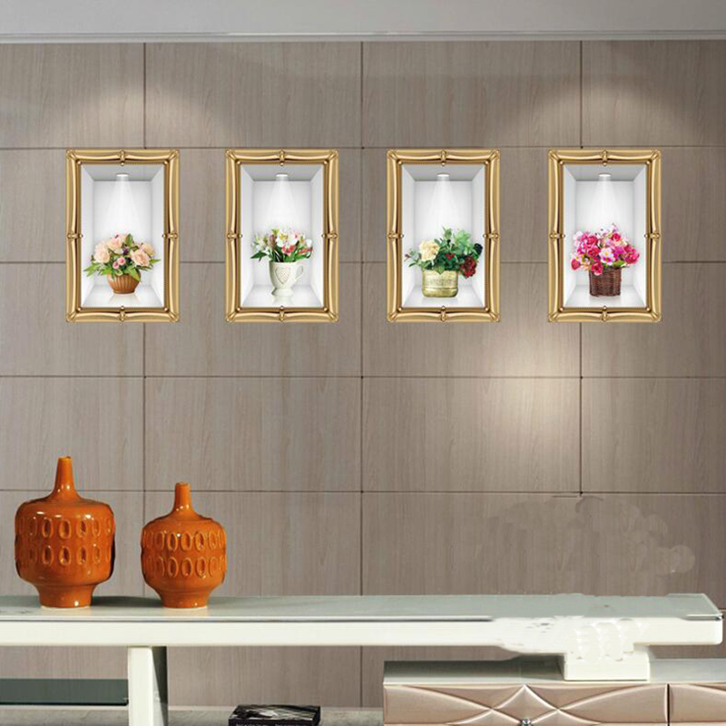 Wall Decors For Living Room: 3D DIY Sticker Name Realistic Vase Flowers Large Wall