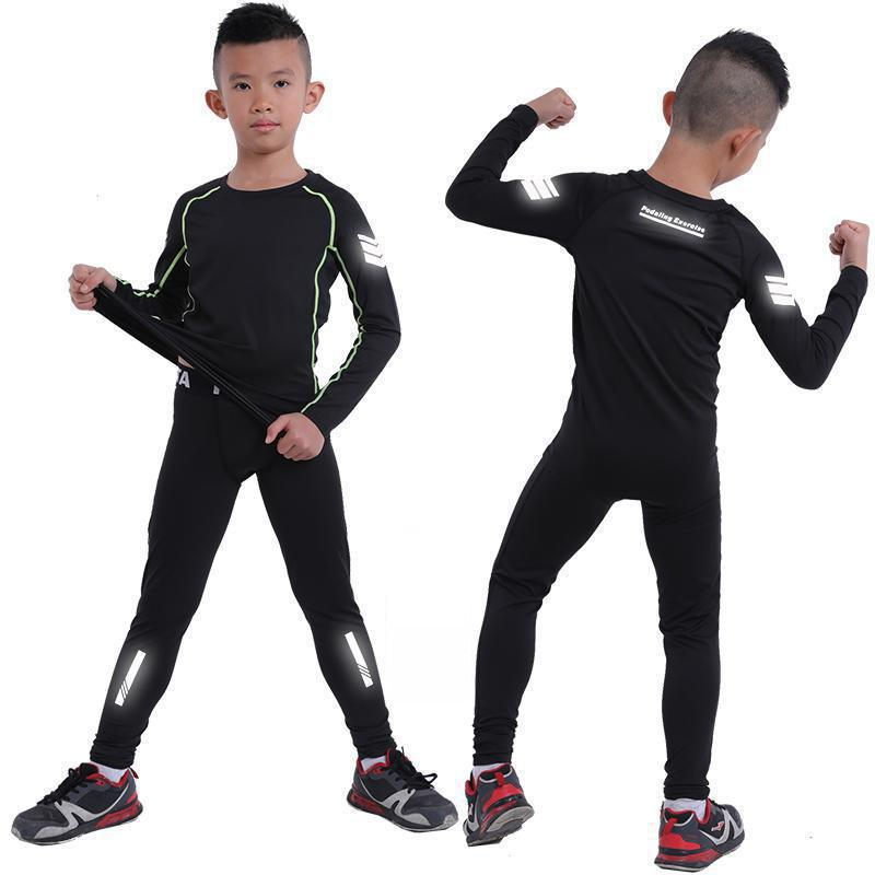 kids Running tight suits boys Compression shirts Leggings Fitness Jogging Trousers children Sport Training Gym basketball sets