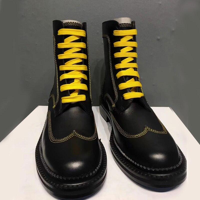 Botas Botines Genuino Invierno As Knight Cuero Diseño Hasta Pic De Otoño Caliente Bajos Tacones Tobillo Encaje Mujer Zapatos vZZYSx
