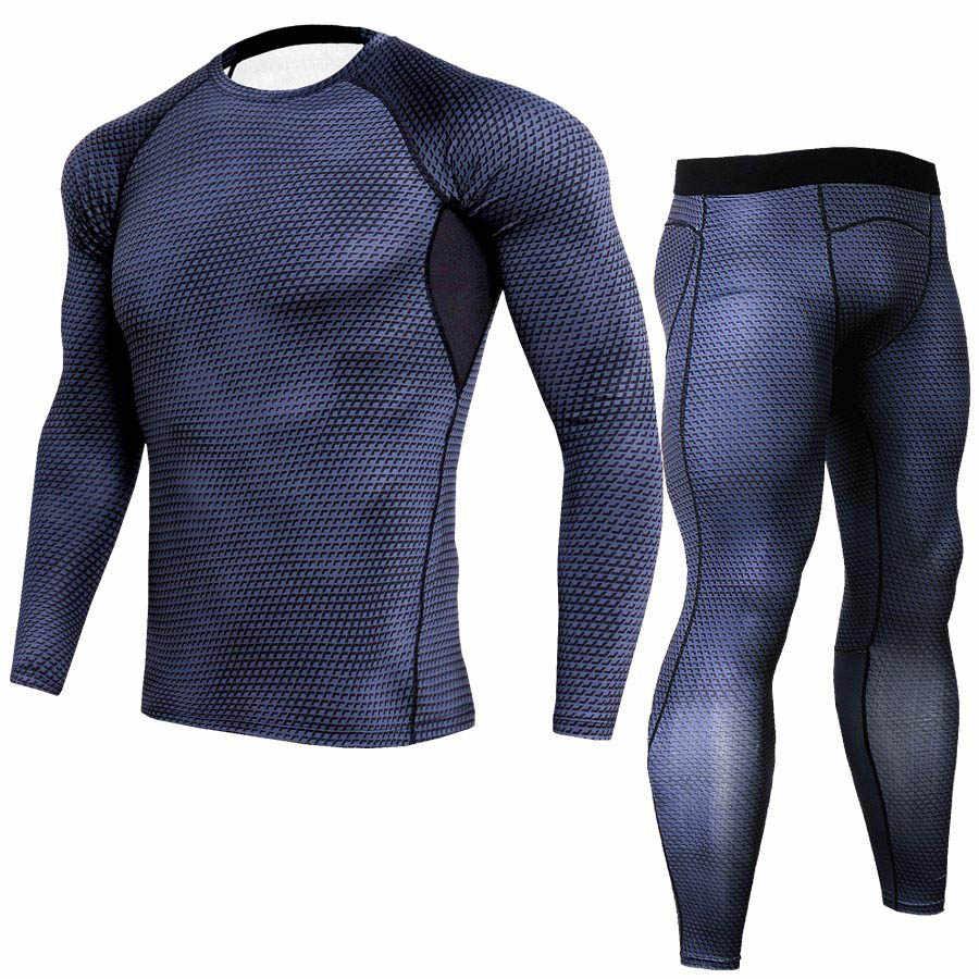 Спортивный костюм для мужчин 2019 мужской ММА одежда crossfit футболка Рашгард обтягивающие с длинным рукавом Одежда термобелье набор для мужчин