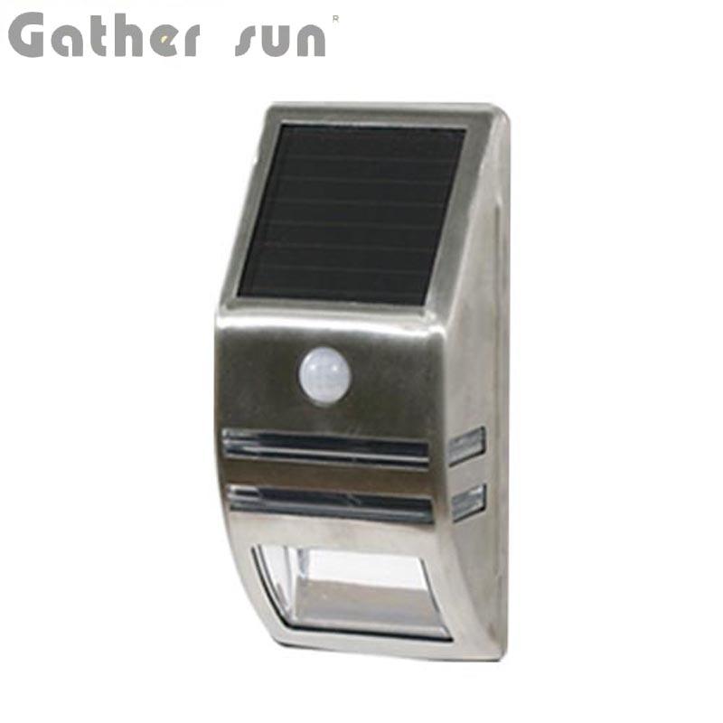 ᗑ】LED Solar PIR Sensor Light Outdoor Solar Power Panel Stainless ...