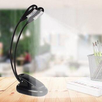 LED Lesen Lampe Dual Arme 2 LEDs Flexible Buch Blatt Musik Stehen Lesen Licht Student Schlafsaal Lichter Mit Clip