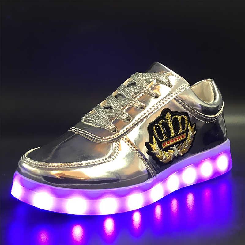 7ipupas 30-44 ปักสติกเกอร์ส่องสว่างรองเท้าเด็ก USB ชาร์จรองเท้าเด็กชาย & เด็กหญิงเรืองแสงรองเท้าผ้าใบแฟชั่นรองเท้า led