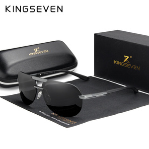 Image 1 - KINGSEVEN מותג עיצוב חדש מקוטב משקפי שמש ללא מסגרת גברים נשים נהיגה טייס מסגרת שמש משקפיים זכר Goggle UV400 Gafas דה סול