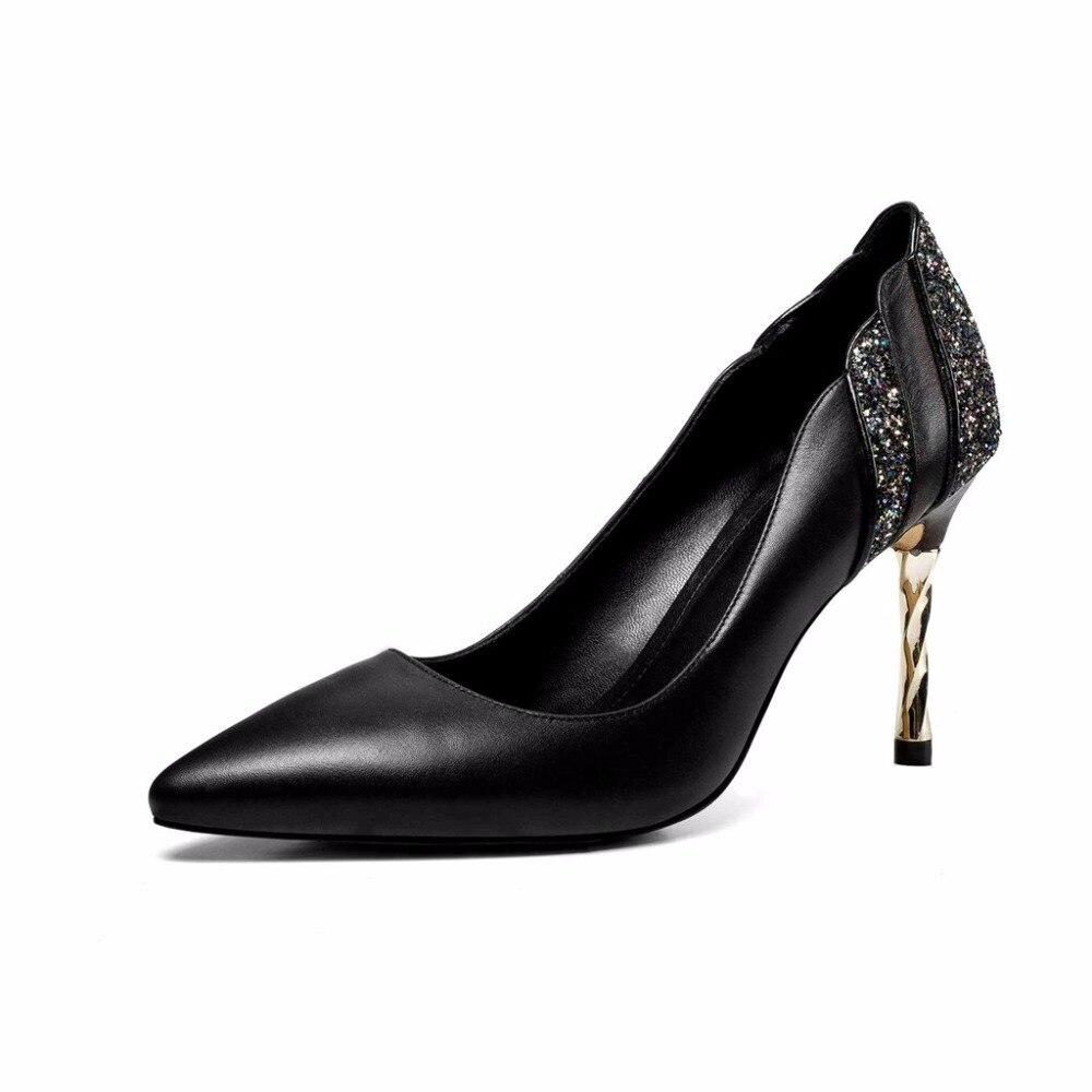 Classique Pointu Super Femmes Style Sur Marque Conception noir Bout Cuir Stiletto La En Slip Lenkisen Robe Reine Vache Beige Sexy Concise Mince Pompes L21 6IYv7bfgy