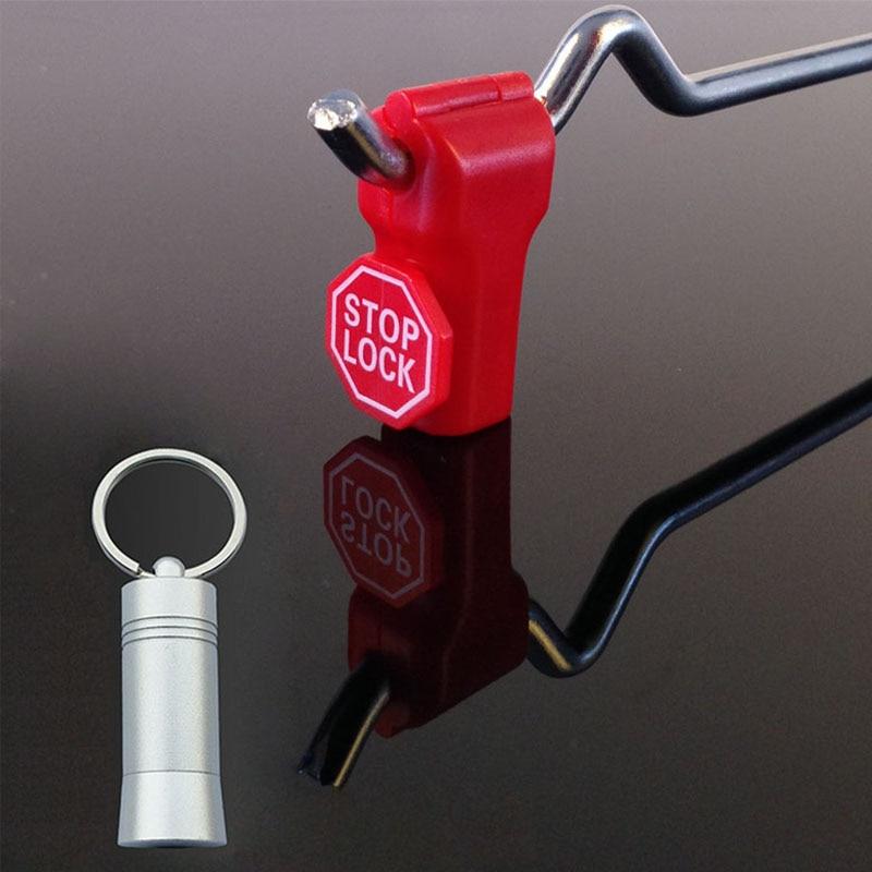 202xStoplock For EAS Plastic Retail Shop Display Hook Anti Sweep Theft  Lock Catch Pegboard Slatwall With Magnet Unlock Key