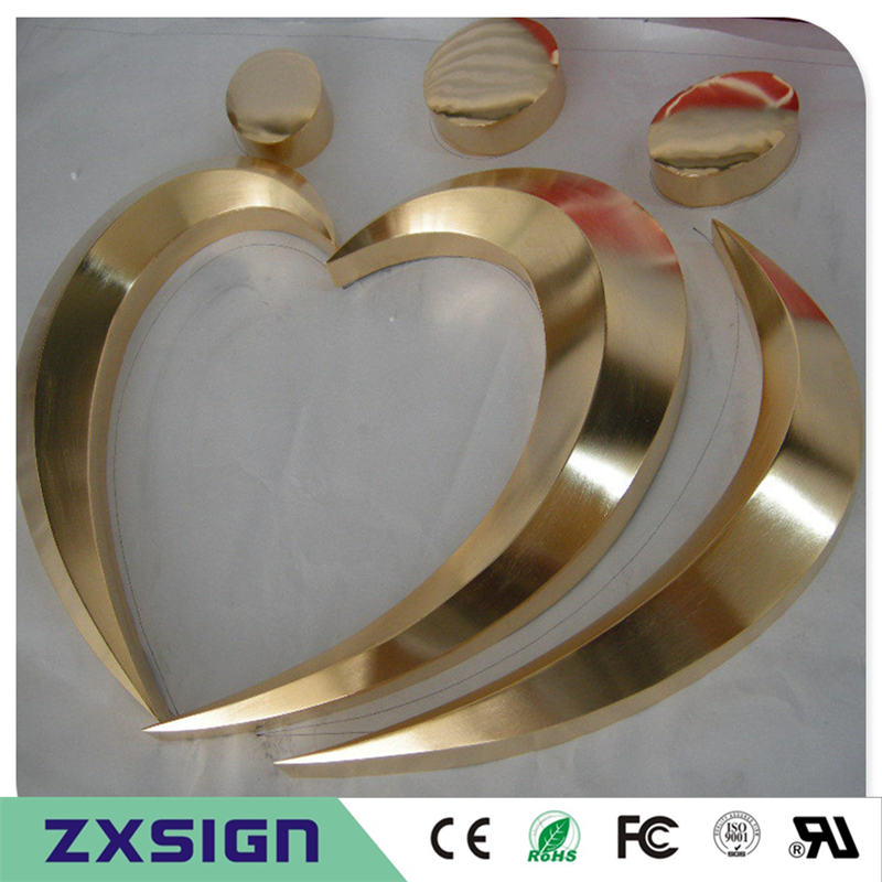 Factory Outlet Outdoor 3D stainless steel sign letters, 3D gold color metal company logo