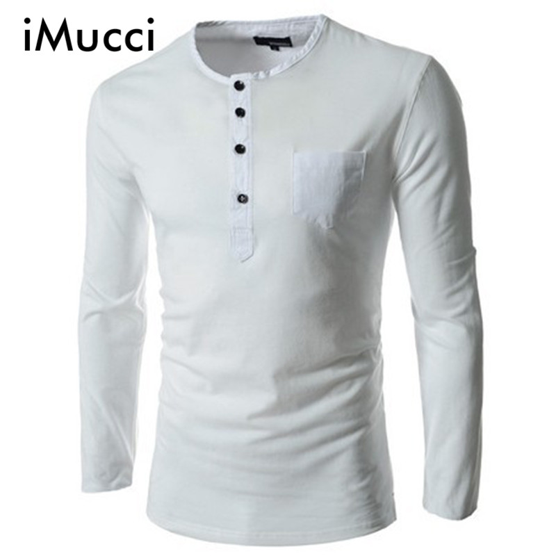 ٩(^‿^)۶Imucci primavera hombre de manga larga Camiseta sólida ...