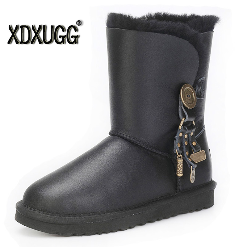 Australia new sheep fur one snow boots female calf height winter warm Button Pendant water proof boots/free shipping ubz australia natural sheepskin fur snow boots female winter botas mujer warm flat heel bandage boots calf height free shipping