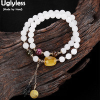 Uglyless 100% Real Natural Jade Balls Bracelets for Women Amber Fine Jewelry 2 Layers Elastic Rope Bangles Jasper Charms Bijoux