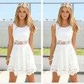 2017 Новая Мода Белый Dress Женщины Шифон Кружева Шить Шею Рукавов Талии Женщины Dress Мини Vestidos Роковой J19