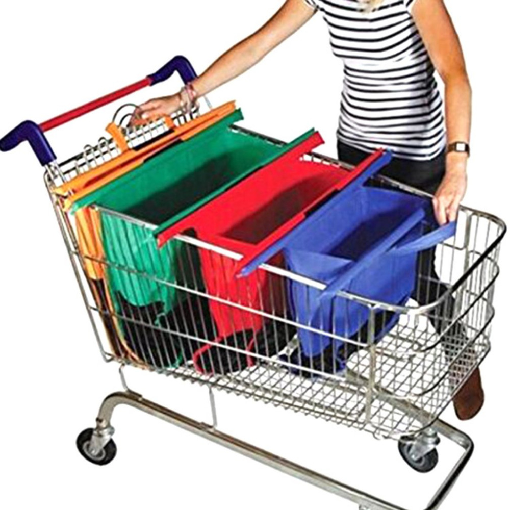 41dec5002 4PCS Set Car Shopping Cart Trolley Bags Foldable Reusable Grocery Shopping  Bag Eco Supermarket Bag Reusable Eco friendly-in Stowing Tidying from  Automobiles ...