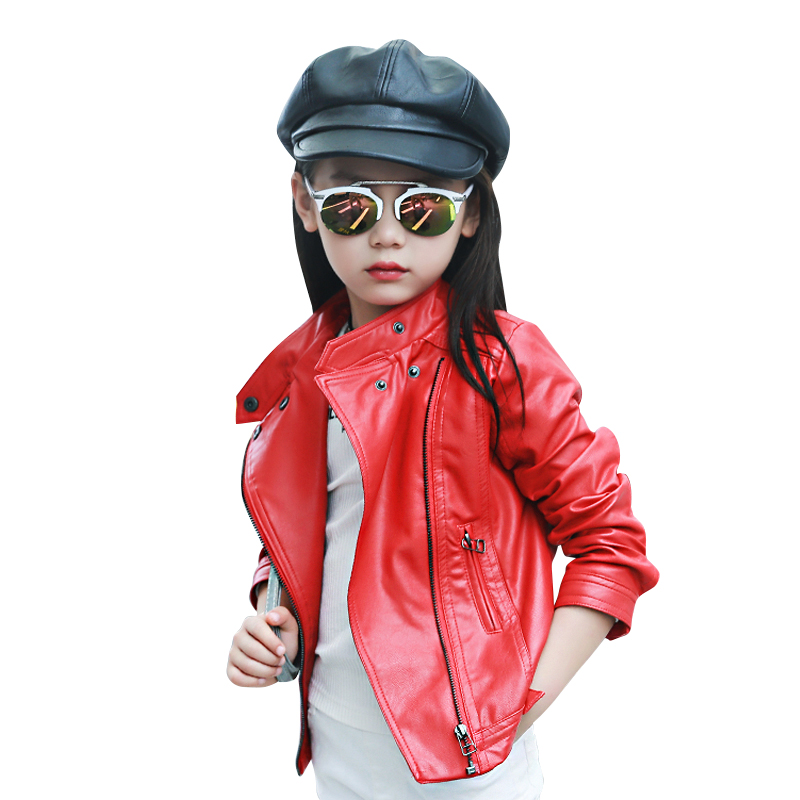Children PU Leather Jacket girl Autumn Leather Coat Girls Spring Jacket Children Solid Casual Outerwear 3-12 year girl clothing