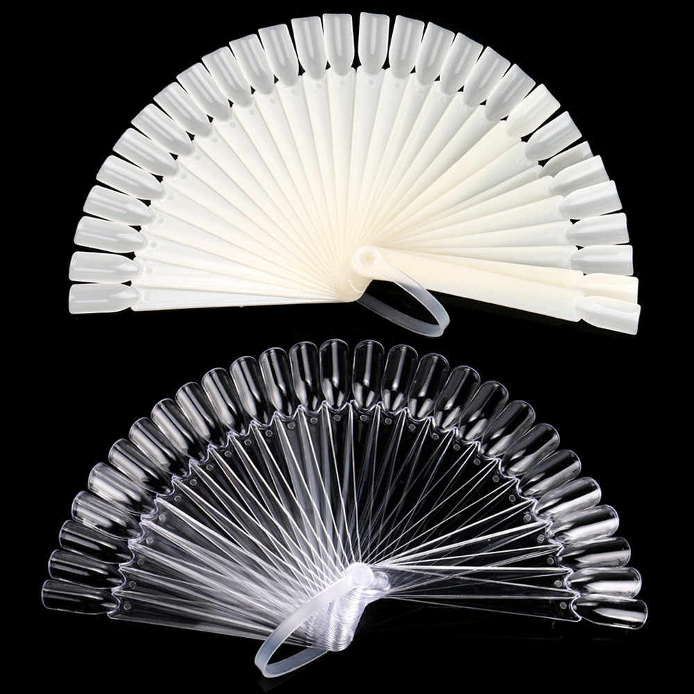 32 PCS Valse Nail Art Fan Board Tips Stick Opvouwbare Display Practice Nail display stand tonen plank 2019 hot koop