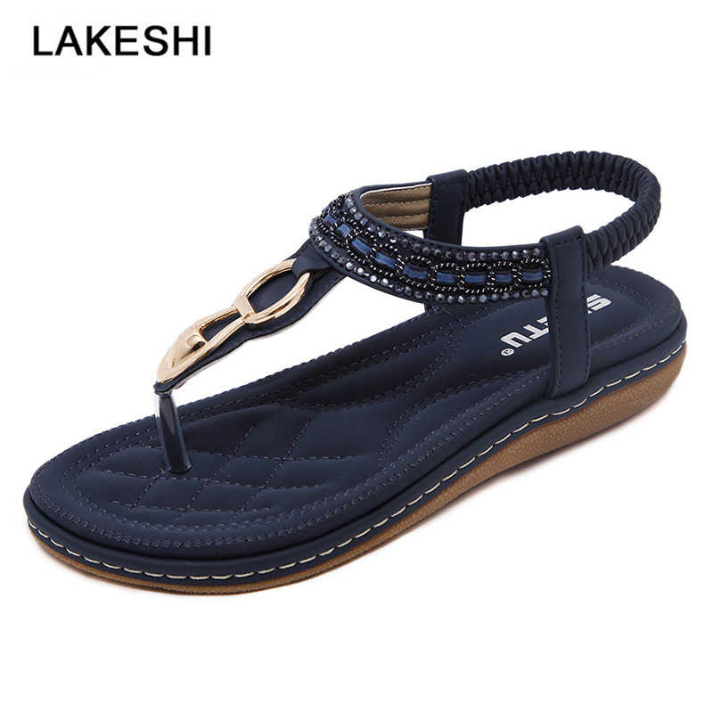 905b31aaf LAKESHI 2018 New Women Sandals Bohemia Flat Sandals Women Shoes String Bead  Women Flip Flops High