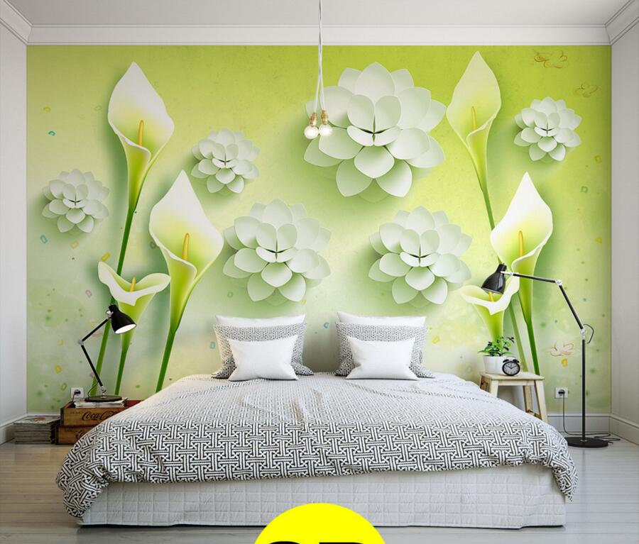 Custom fresh lily 3D TV background wall wallpaper large murals,hotel living room bedroom sofa wall 3d wallpaper papel de parede custom 3d wallpaper flower murals for the living room bedroom tv background wall vinyl papel de parede