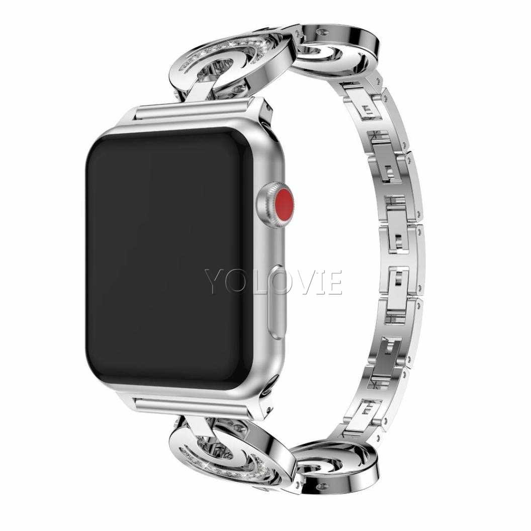 Diamond Metal Band For Apple Watch 40mm 44mm Crescent Stainless steel Women bracelet For iwatch 38mm 42mm Series 5 4 3 2 1