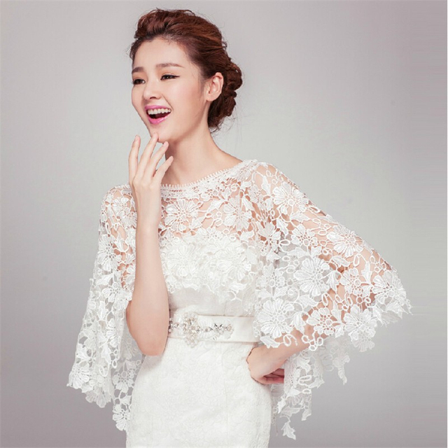 2017 Elegant Ivory Wedding Lace Jackets Wraps Cape Accessories Bridal Bolero